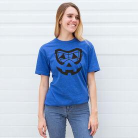 Girls Lacrosse Short Sleeve Tee - Lacrosse Goggle Pumpkin Face