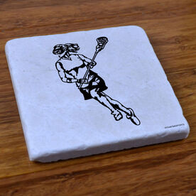 Lacrosse Girl Player - Natural Stone Coaster
