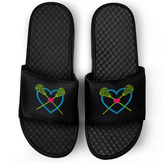 Girls Lacrosse Black Slide Sandals - Lax Heart with Crossed Sticks