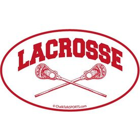 Lacrosse Crossed Sticks Oval Car Magnet (Red)