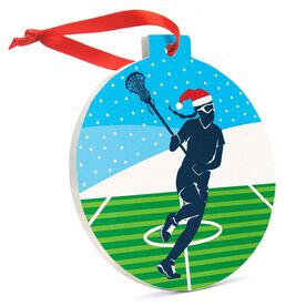 Girls Lacrosse Round Ceramic Ornament - Silhouette with Santa Hat