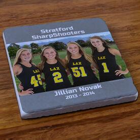 Girls Lacrosse Stone Coaster Personalized Girls Lacrosse Photo