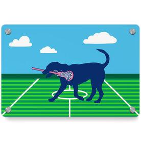 Girls Lacrosse Metal Wall Art Panel - Lula The Lax Dog