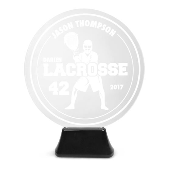 Lacrosse Acrylic LED Lamp Round Goalie With 3 Lines and Number
