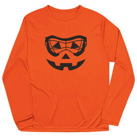 Girls Lacrosse Long Sleeve Performance Tee - Lacrosse Goggle Pumpkin Face