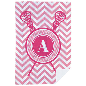 Girls Lacrosse Premium Blanket - Single Letter Monogram with Crossed Sticks and Chevron