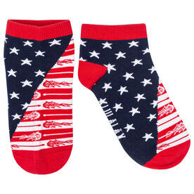 Girls Lacrosse Ankle Socks - Patriotic Lax Stars and Stripes