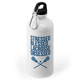 Lacrosse 20 oz. Stainless Steel Water Bottle - Stressed Blessed Lacrosse Obsessed