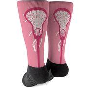 Girls Lacrosse Printed Mid-Calf Socks - Monogrammed Lax is Life