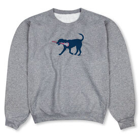 Girls Lacrosse Crew Neck Sweatshirt - LuLa The LAX Dog (Blue)