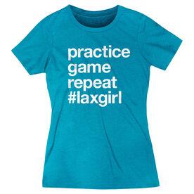 Girls Lacrosse Women's Everyday Tee - Practice Game Repeat