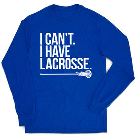 Girls Lacrosse Tshirt Long Sleeve - I Can't. I Have Lacrosse