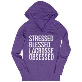 Lacrosse Lightweight Performance Hoodie - Stressed Blessed Lacrosse Obsessed