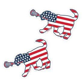 Girls Lacrosse Stickers - Patriotic Lula The Lax Dog (Set of 2)