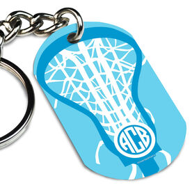 Girls Lacrosse Printed Dog Tag Keychain Monogrammed Lax is Life