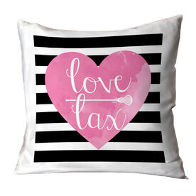 Girls Lacrosse Throw Pillow Love Lax Watercolor Heart