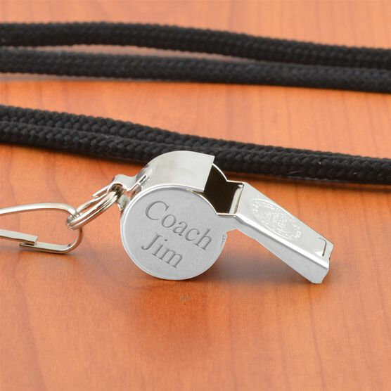 Engravable Silver Coach Whistle With Lanyard