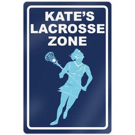 "Lacrosse Aluminum Room Sign Personalized Lacrosse Zone Girl (18"" X 12"")"