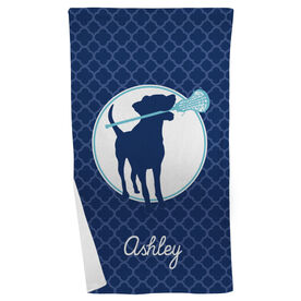 Lacrosse Beach Towel Personalized Dog with Stick