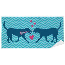 Girls Lacrosse Premium Beach Towel - Lax Dog Love
