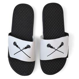 Girls Lacrosse White Slide Sandals - Crossed Sticks