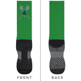 Girls Lacrosse Printed Mid-Calf Socks - Shamrock with Crossed Sticks and Chevron