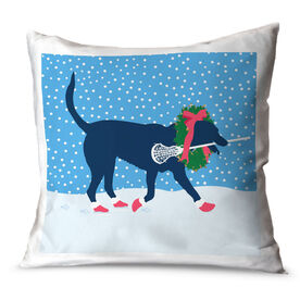 Girls Lacrosse Throw Pillow LuLa the Christmas Lax Dog