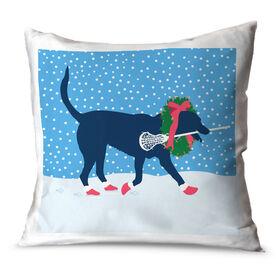 Girls Lacrosse Throw Pillow LuLa the Christmas Lax Dog