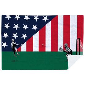 Girls Lacrosse Premium Blanket - She Goes for the Goal Patriotic