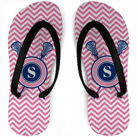 b4d2d0aeb Girls Lacrosse Flip Flops Single Letter Monogram with Crossed Sticks and  Chevron