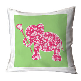 Girls Lacrosse Throw Pillow Lax Elephant