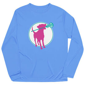 Girls Lacrosse Long Sleeve Performance Tee - Lacrosse Dog with Girl Stick