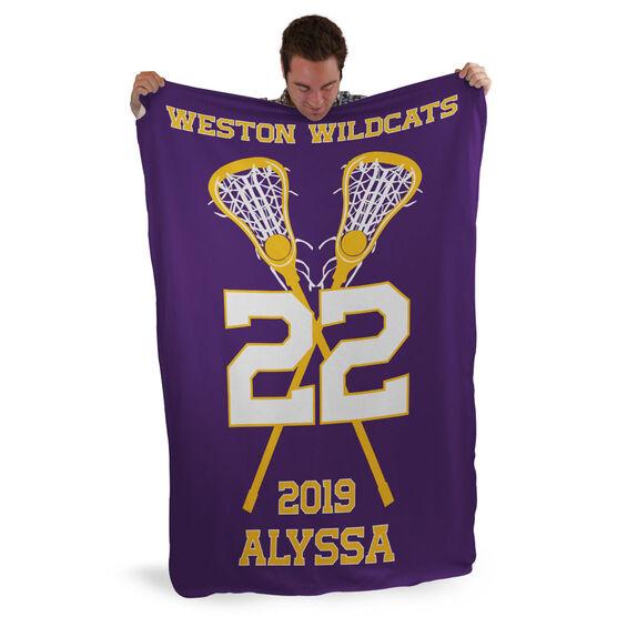Girls Lacrosse Sherpa Fleece Blanket - Personalized Team with Crossed Sticks