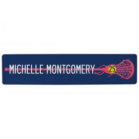 """Girls Lacrosse Aluminum Room Sign - Stick With Your Name And Number (4""""x18"""")"""