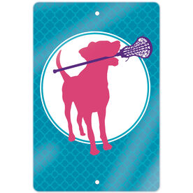 """Girls Lacrosse 18"""" X 12"""" Aluminum Room Sign Lacrosse Dog with Girl Stick"""