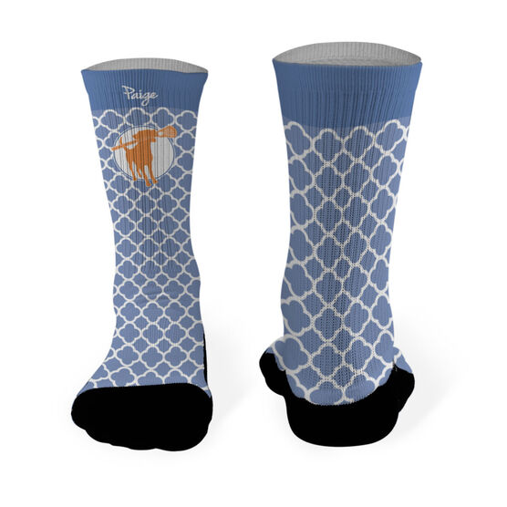 Girls Lacrosse Printed Mid Calf Socks Personalized Lacrosse Dog Quatrefoil Pattern