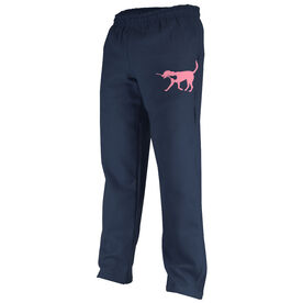 Girls Lacrosse Fleece Sweatpants LuLa the Lax Dog