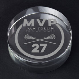 Girls Lacrosse Personalized Engraved Crystal Gift - MVP Award