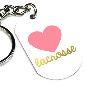Girls Lacrosse Printed Dog Tag Keychain Heart Lacrosse Gold foil