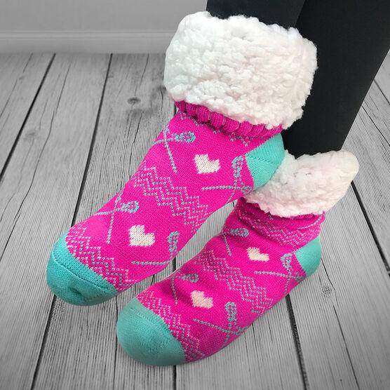 Lacrosse Slipper Socks with Sherpa Lining (Pink)