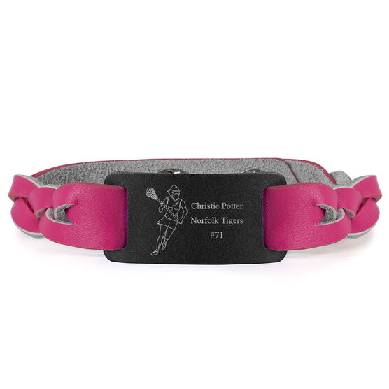 Girls Lacrosse Leather Bracelet with Engraved Plate - Personalized Player