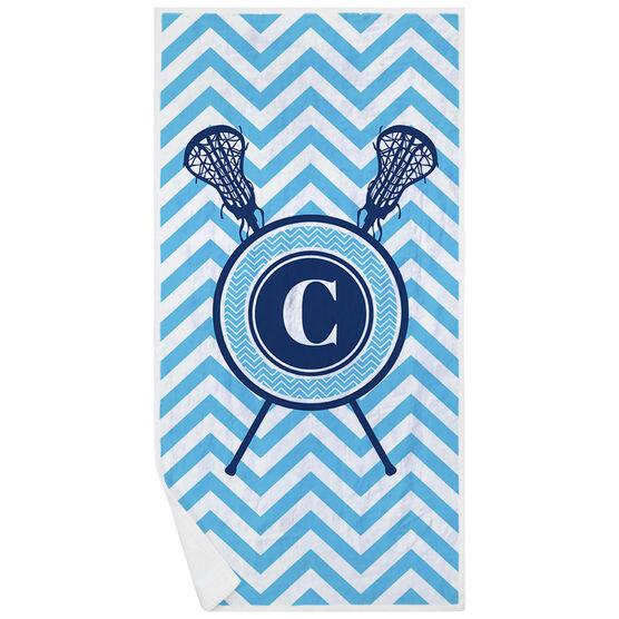 Girls Lacrosse Premium Beach Towel - Single Letter Monogram with Crossed Sticks and Chevron