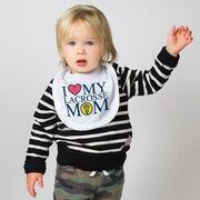 Girls Lacrosse Baby Bib - I Love My Lacrosse Mom