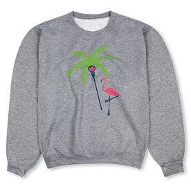 Girls Lacrosse Crew Neck Sweatshirt - Palm Tree and Flamingo Lacrosse