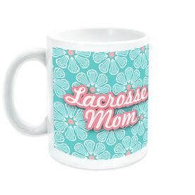 Girls Lacrosse Coffee Mug Mom With 'Fleur De' Pattern