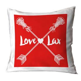 Girls Lacrosse Throw Pillow Love Lax Crossed Arrows