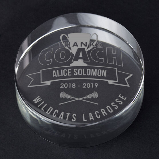 Girls Lacrosse Personalized Engraved Crystal Gift - Thanks Coach Banner