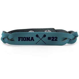 Girls Lacrosse Leather Engraved Bracelet Name Crossed Sticks Number
