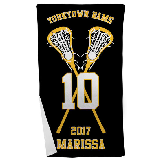 Girls Lacrosse Beach Towel Personalized Team with Crossed Sticks