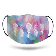 Girls Lacrosse Face Mask - Lax Pineapples with Tie-Dye